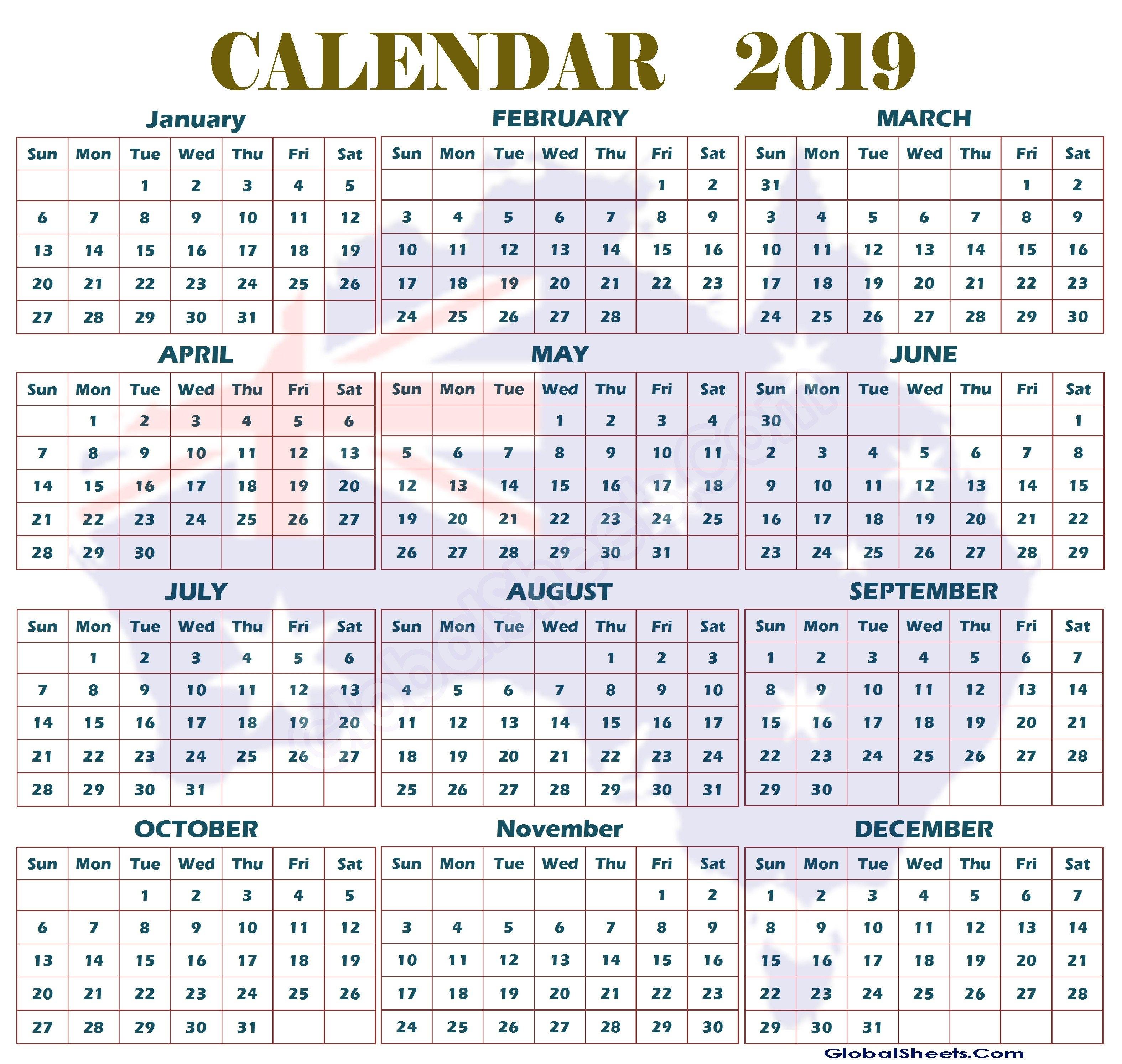 Australian 2019 Year Calendar - Littledelhisf 2019 Calendar Qld Printable