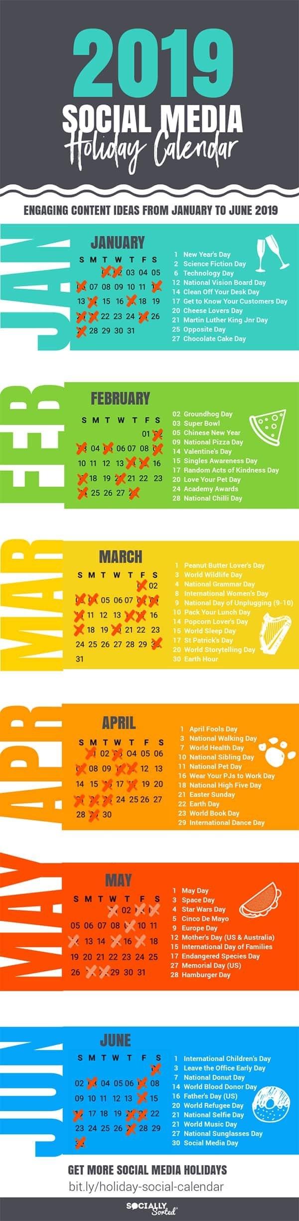 Awesome Social Media Content Calendar For 2019 Holidays [Infographic Calendar 2019 National Days