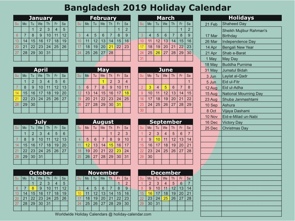 Bangladesh 2019 / 2020 Holiday Calendar Calendar Of 2019 With Holidays In Bangladesh