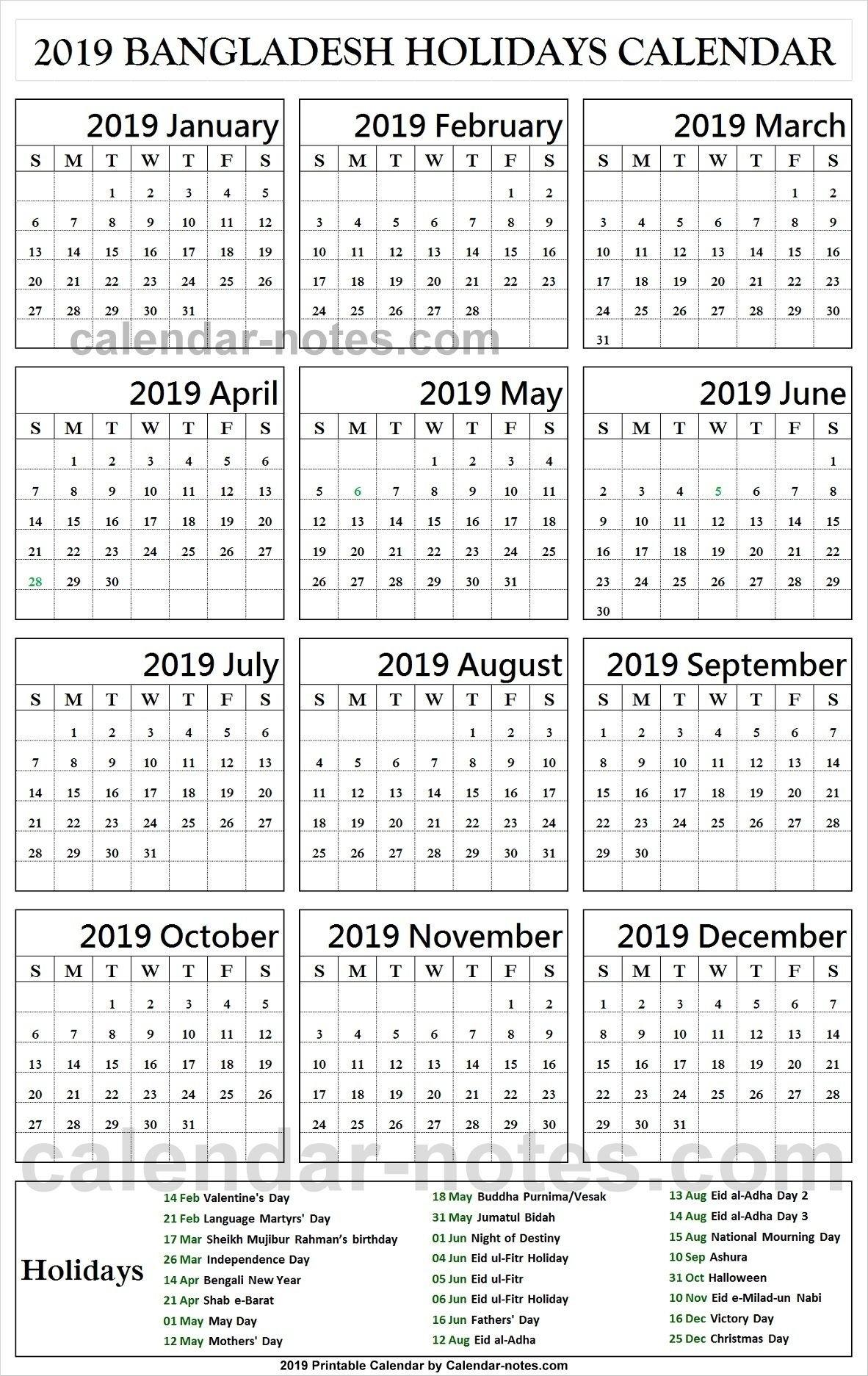 Bangladesh Holiday 2019 Calendar | Holidays Calendar 2019 Calendar Of 2019 With Holidays In Bangladesh
