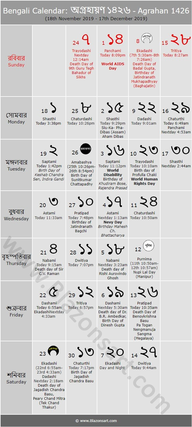 Bengali Calendar - Agrahan 1426 : বাংলা কালেন্ডার Bengali Calendar 2019-20
