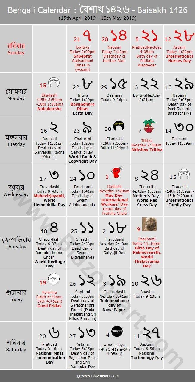 Bengali Calendar - Baisakh 1426 : বাংলা কালেন্ডার Bengali Calendar 2019-20