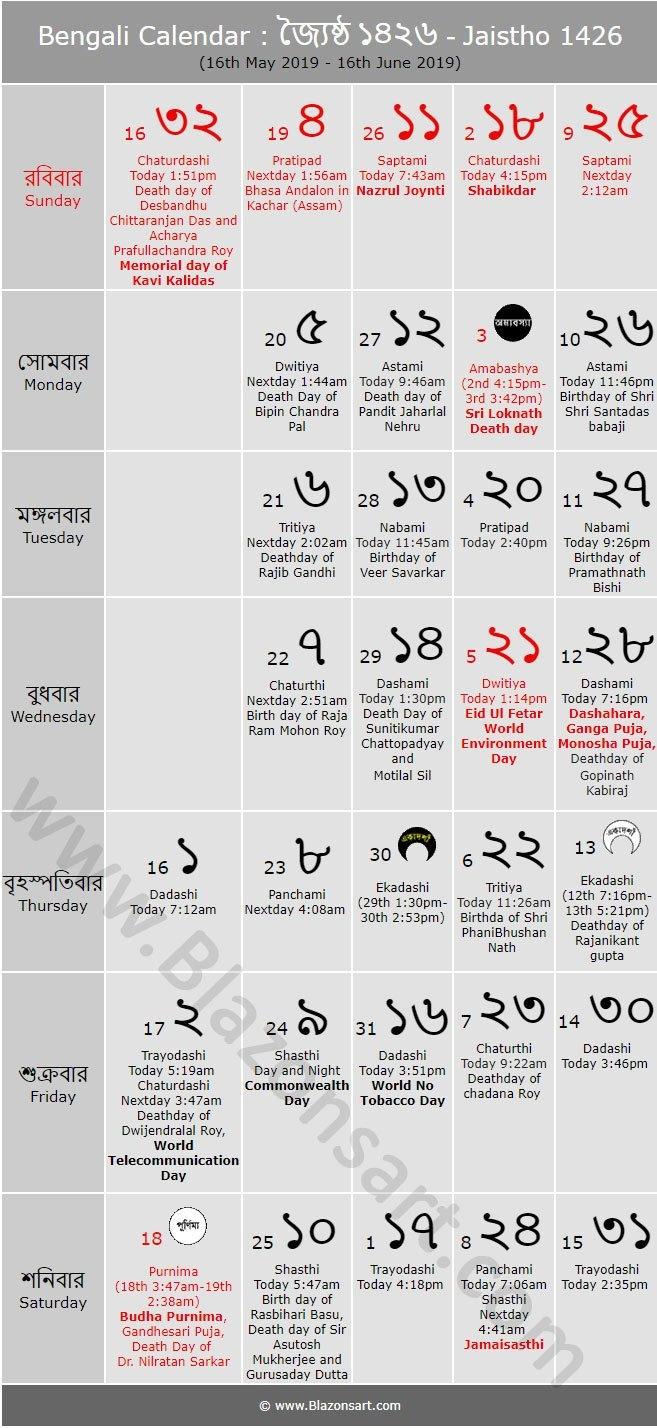 Bengali Calendar - Jaistho 1426 : বাংলা কালেন্ডার Bengali Calendar 2019-20