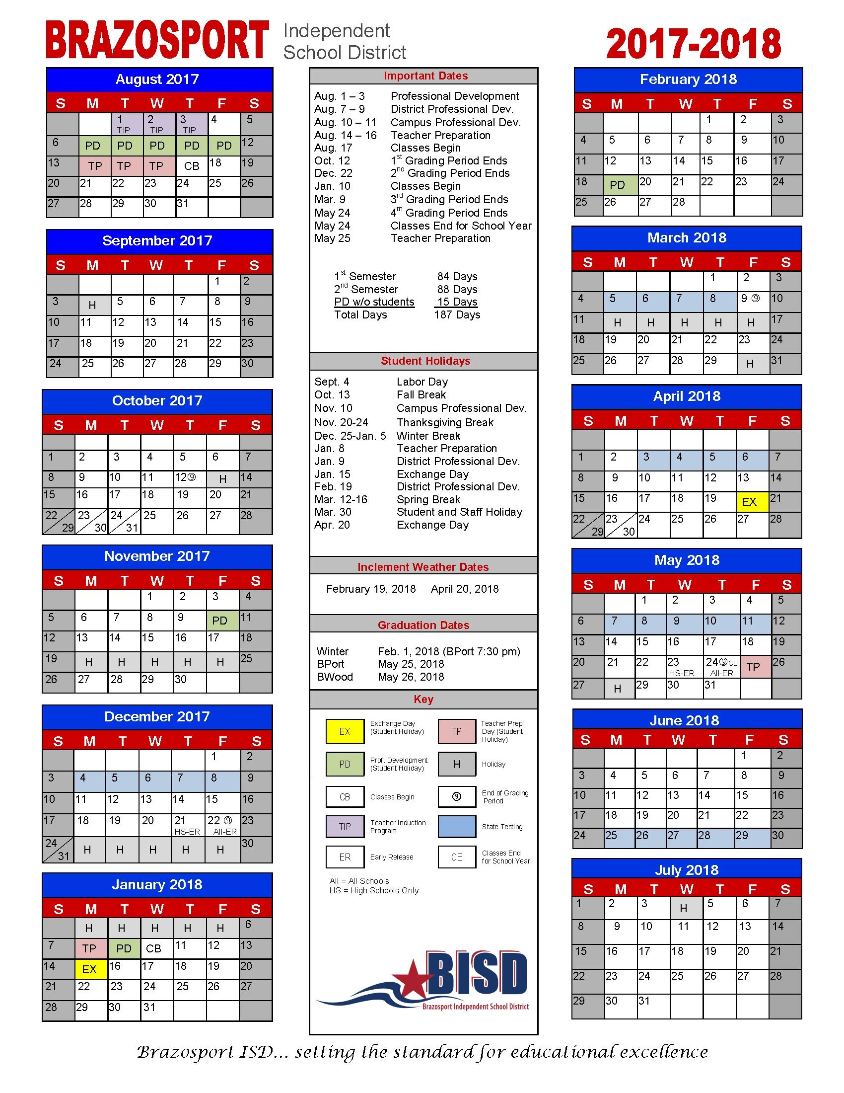 Bisd Board Approves 2017-18 Calendar - Brazosport Independent School Stephen F Austin Calendar 2019