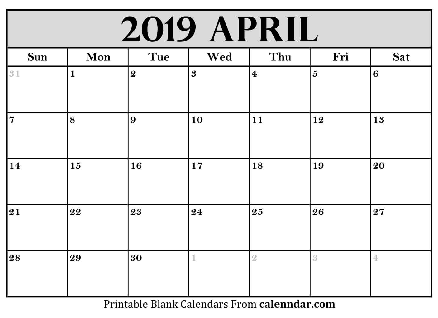 Blank April 2019 Calendar Templates – Calenndar April 3 2019 Calendar