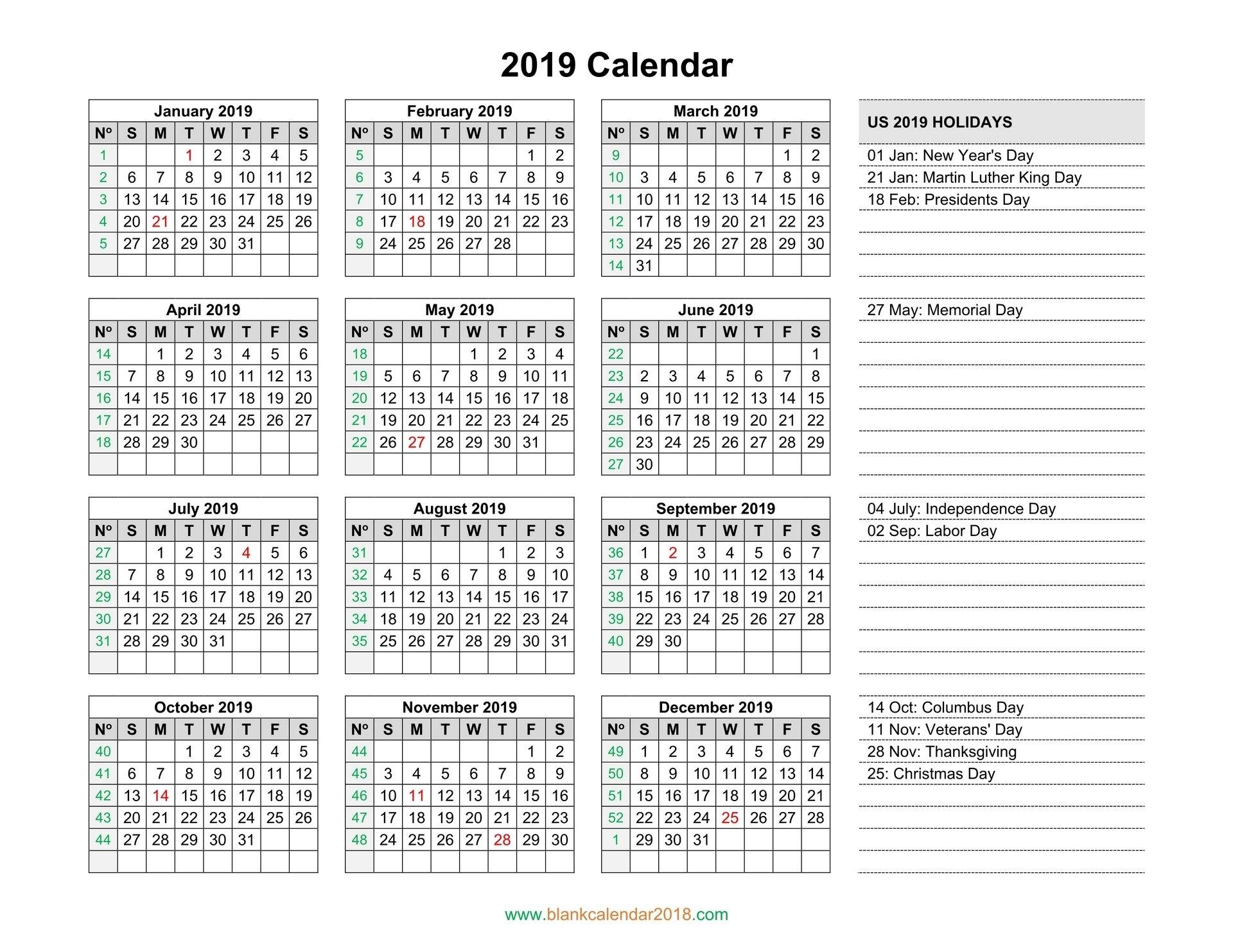 Blank Calendar 2019 Calendar 2019 Empty