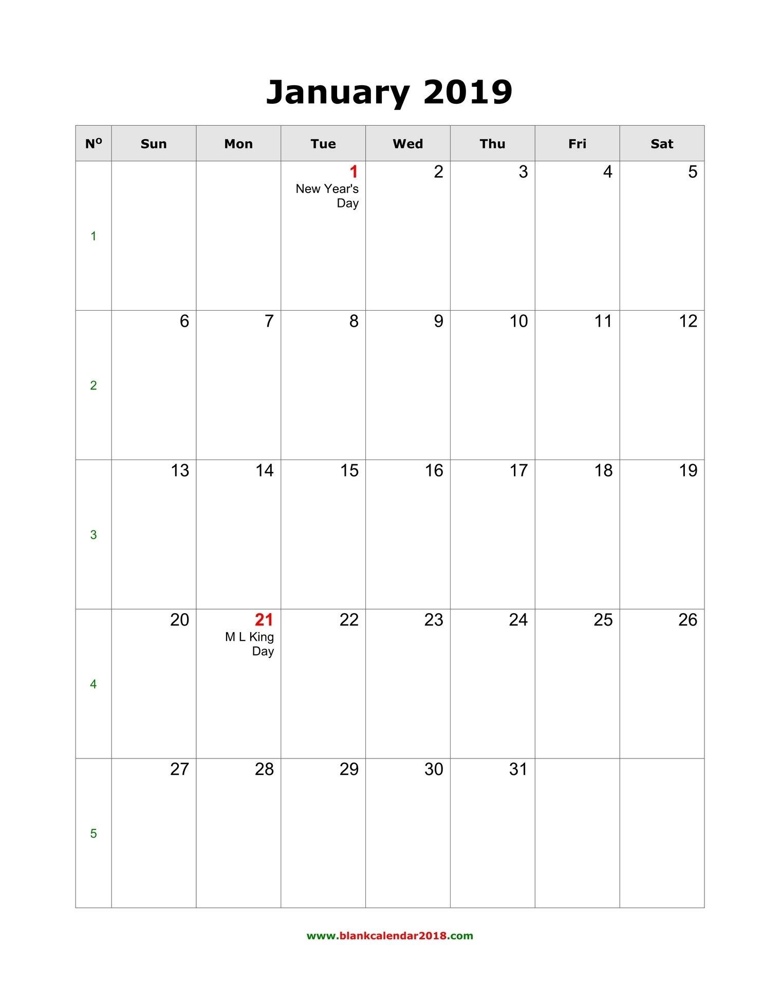 Blank Calendar 2019 Calendar 2019 Monthly Printable With Holidays