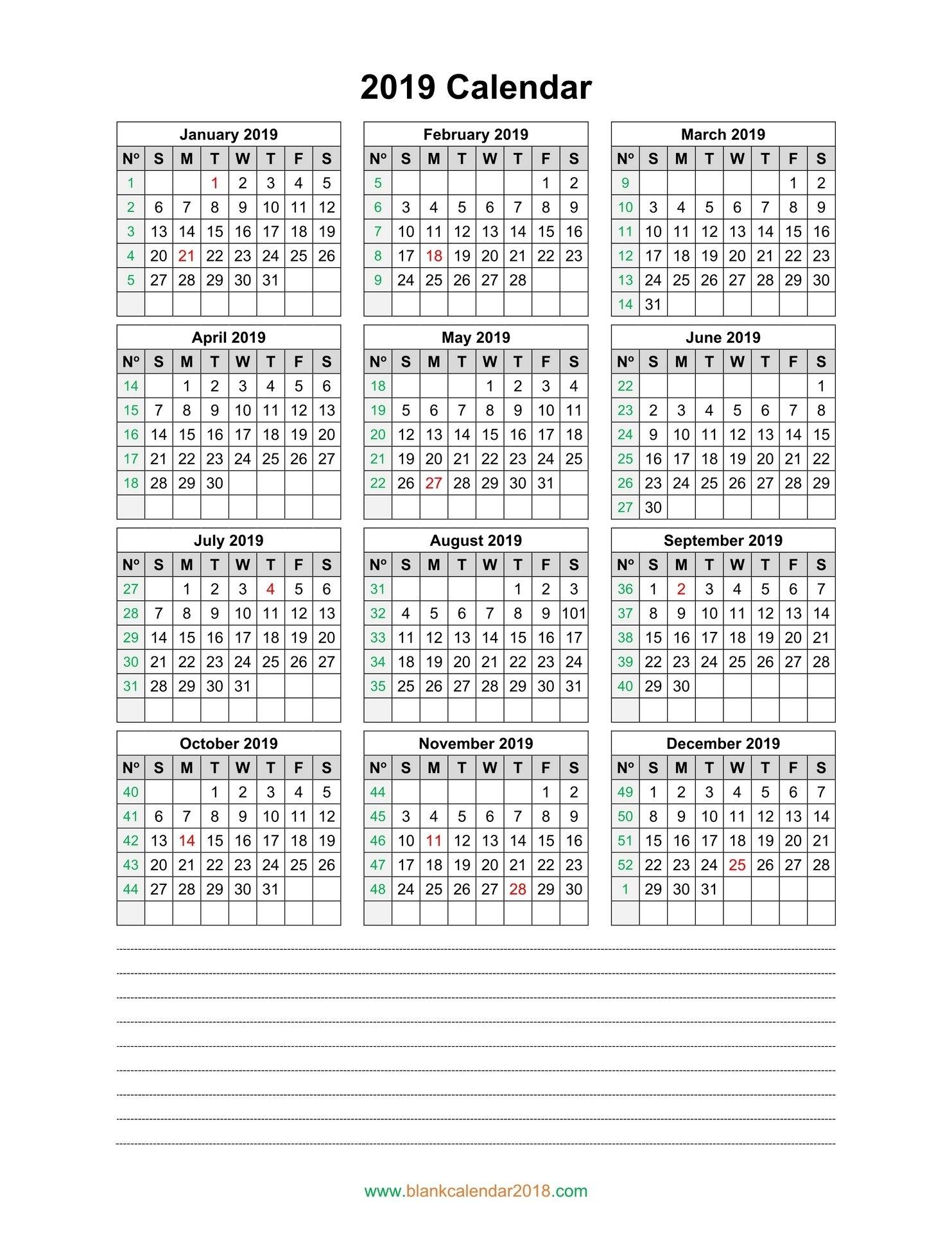 Blank Calendar 2019 Calendar 2019 Notes