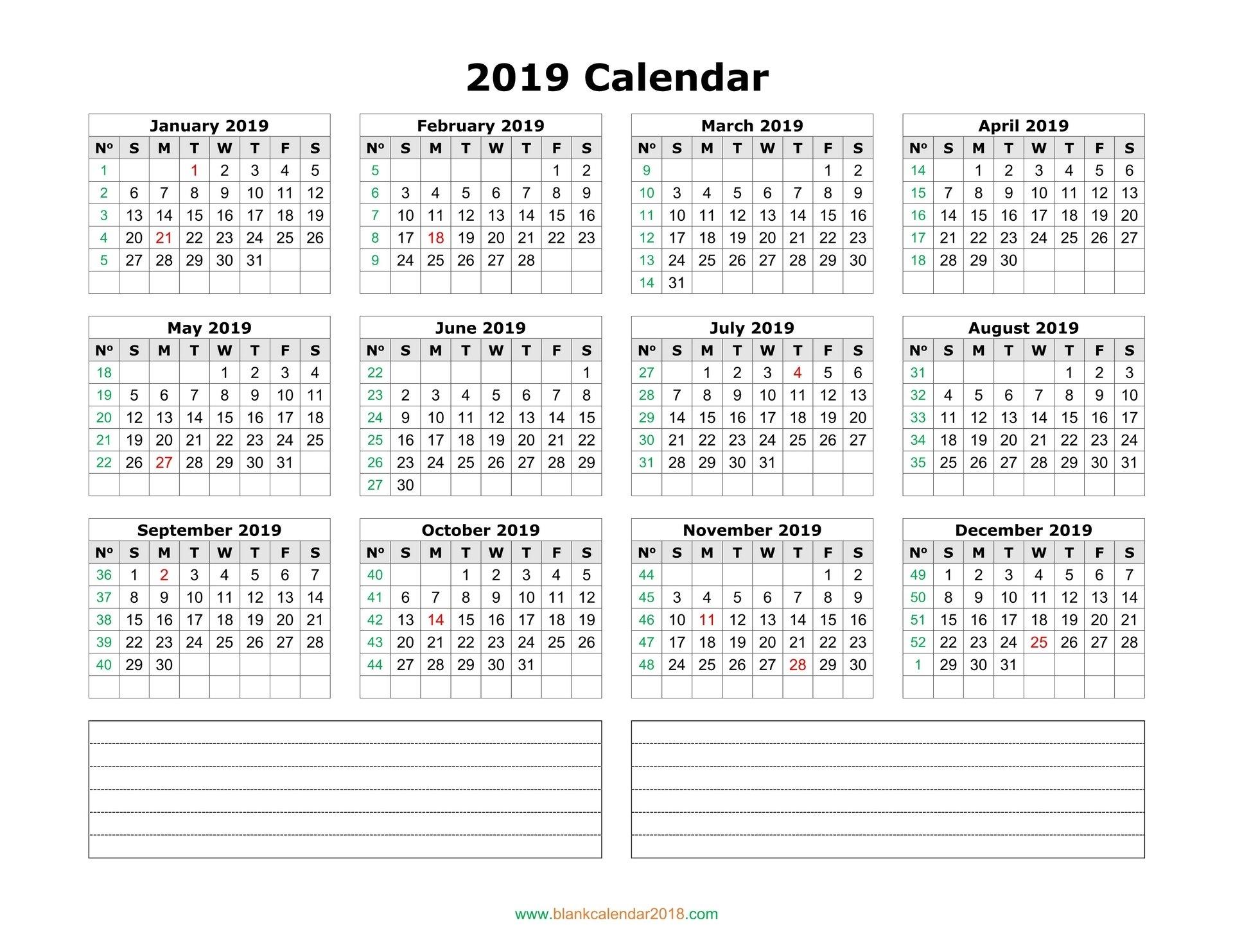 Blank Calendar 2019 Calendar 2019 Pdf
