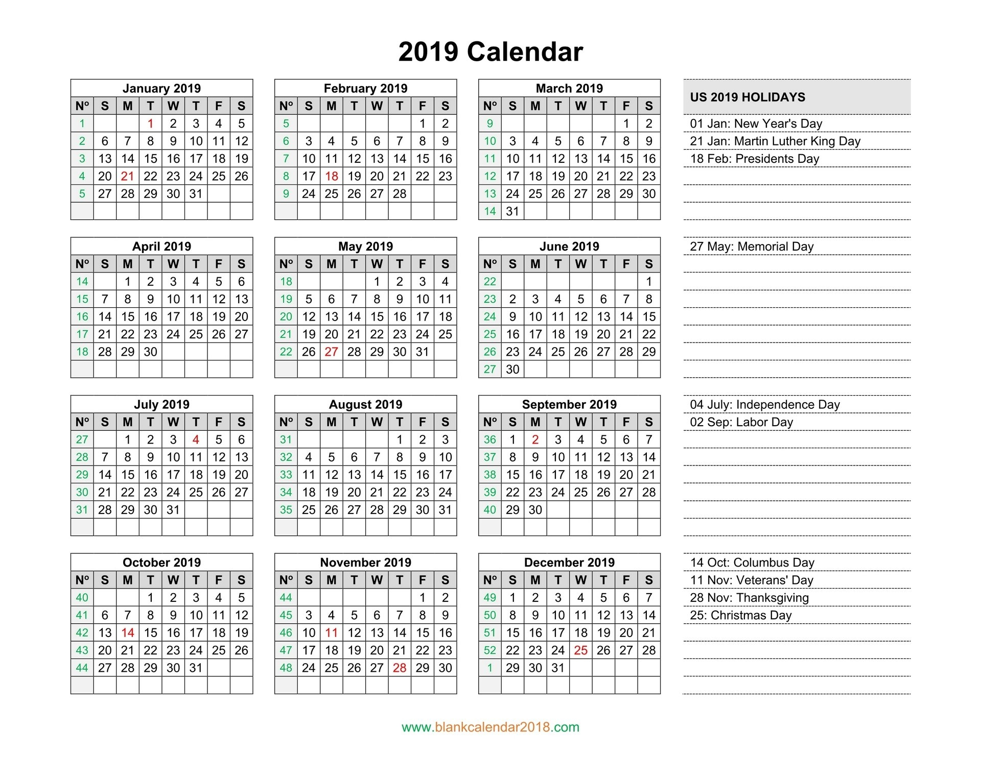 Blank Calendar 2019 Calendar 2019 With Holidays