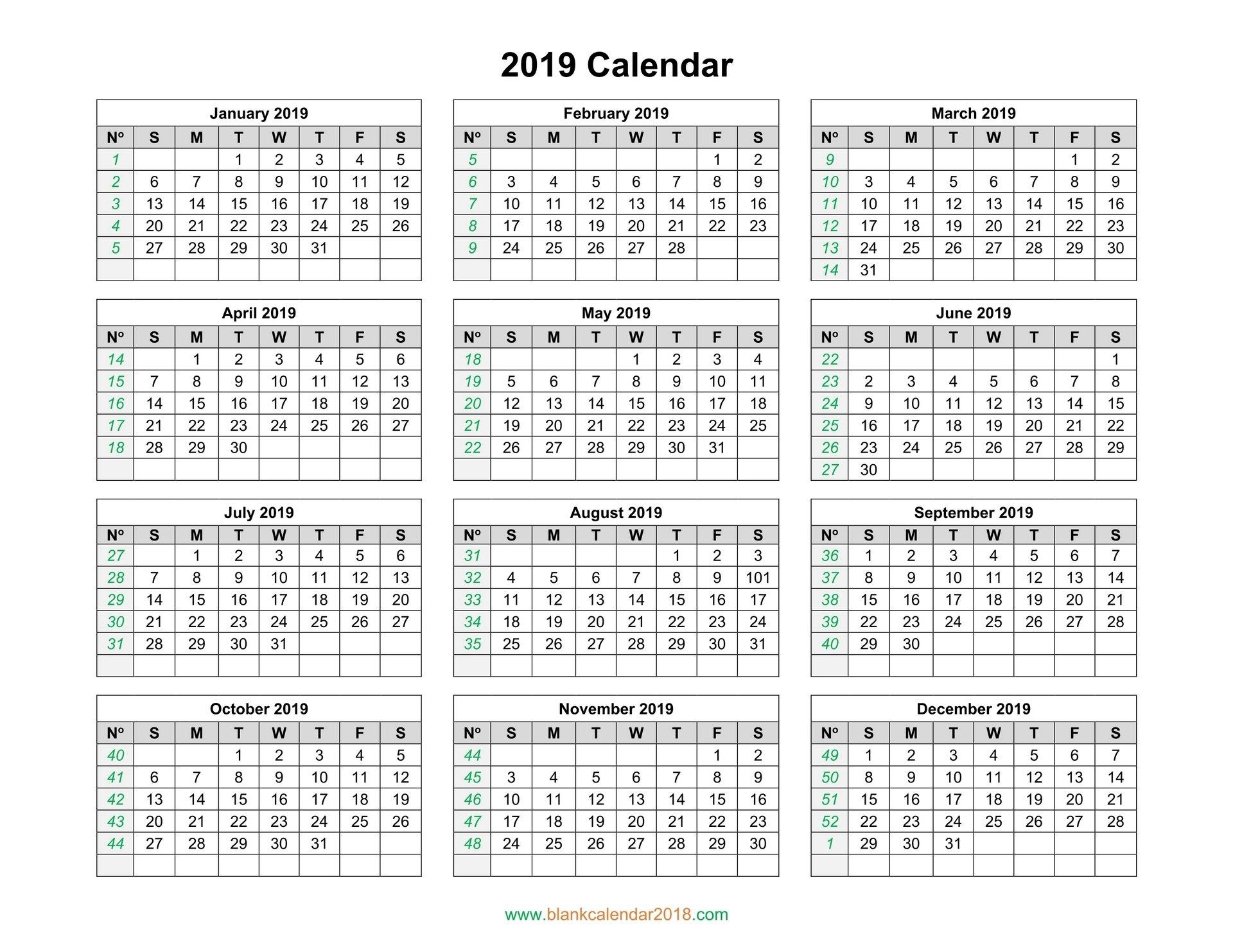 Blank Calendar 2019 Calendar 2019 Yearly Template