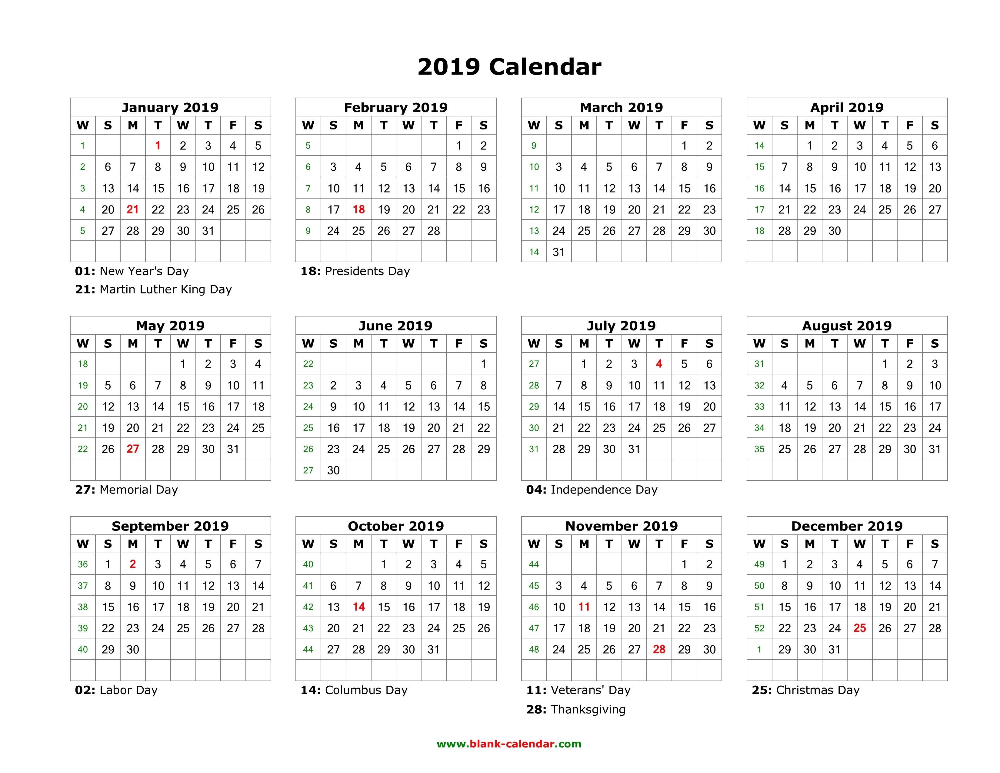Blank Calendar 2019 | Free Download Calendar Templates 1 Year Calendar 2019
