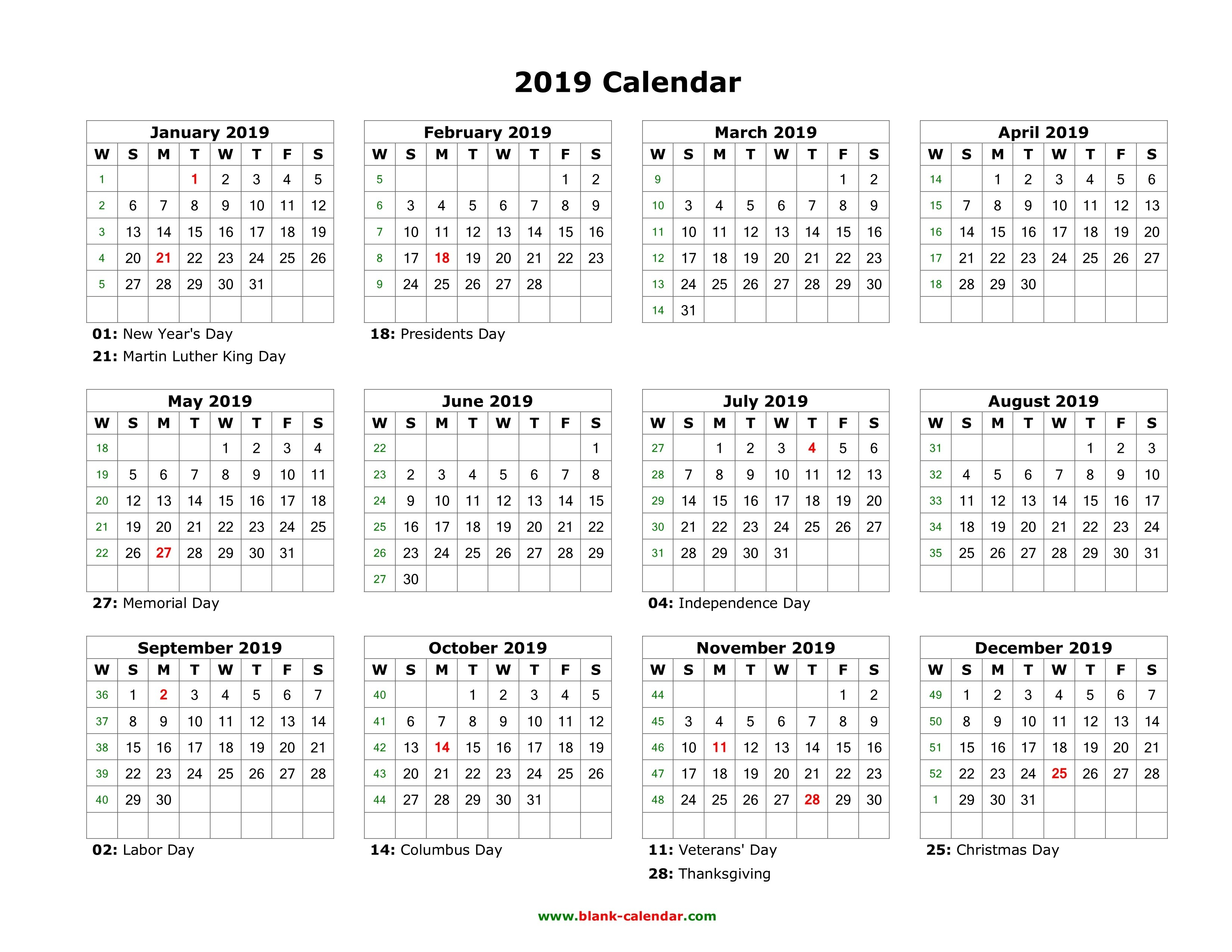 Blank Calendar 2019 | Free Download Calendar Templates Calendar 2019 Year Printable Free
