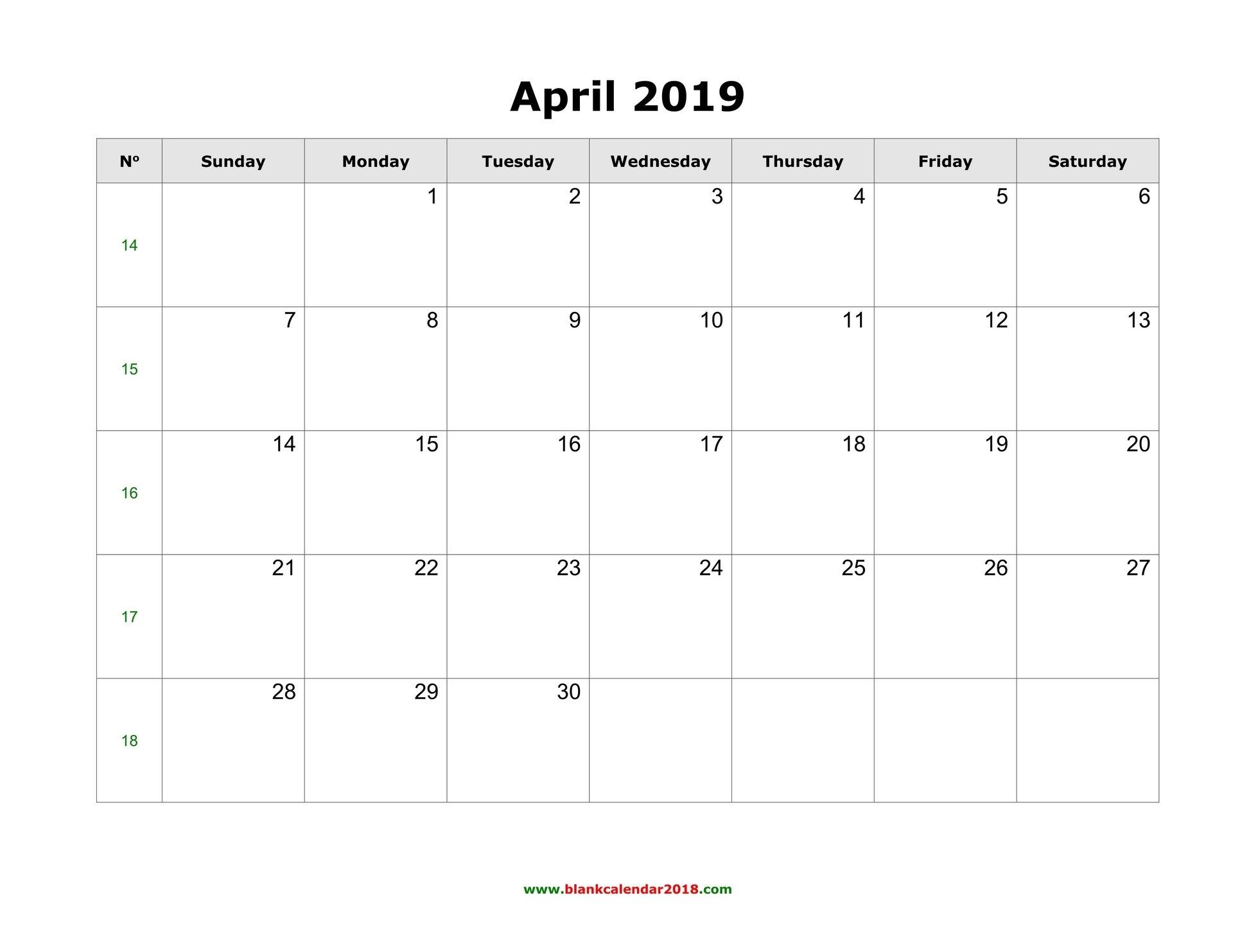 Blank Calendar For April 2019 Calendar Of 2019 April