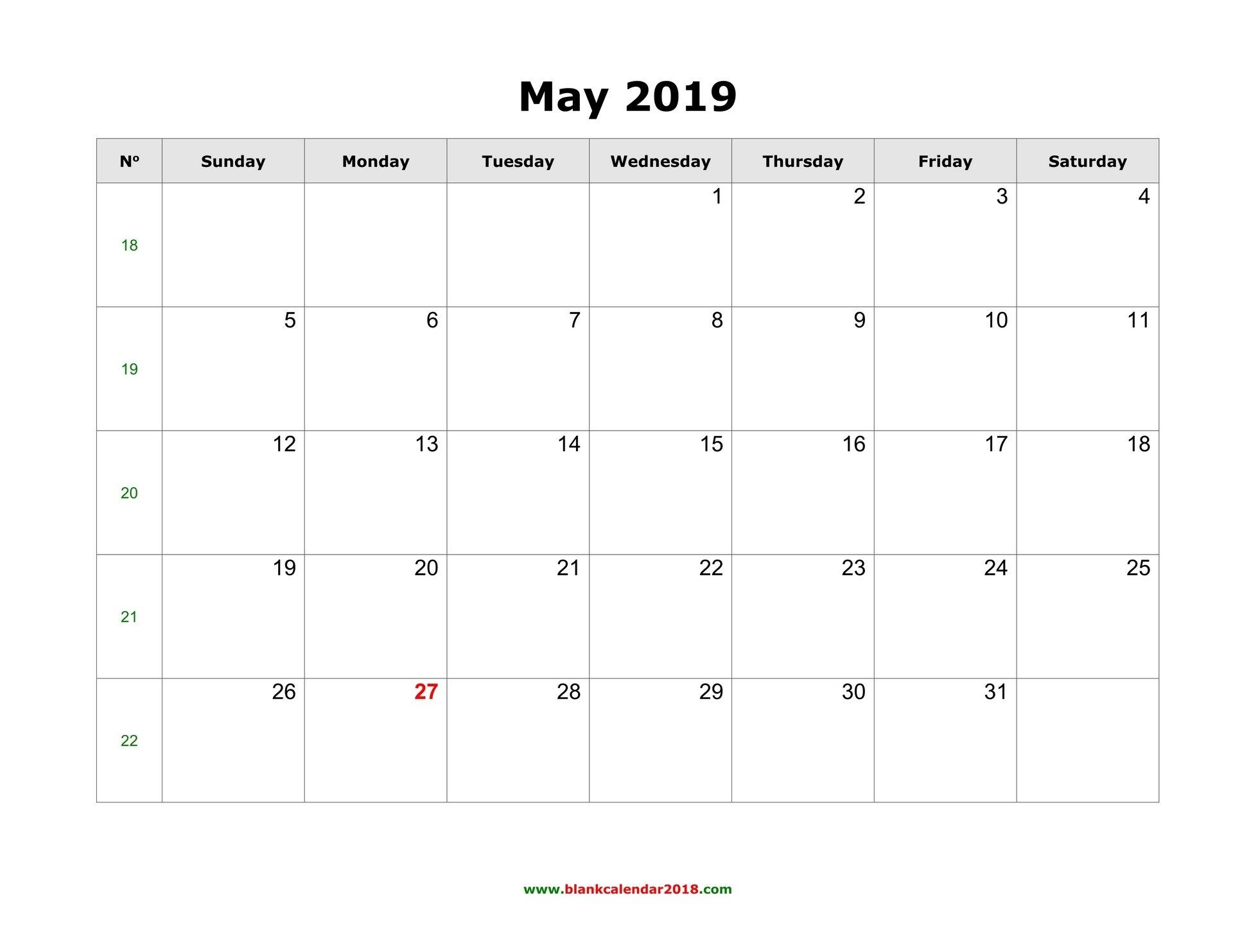 Blank Calendar For May 2019 Calendar 2019 May