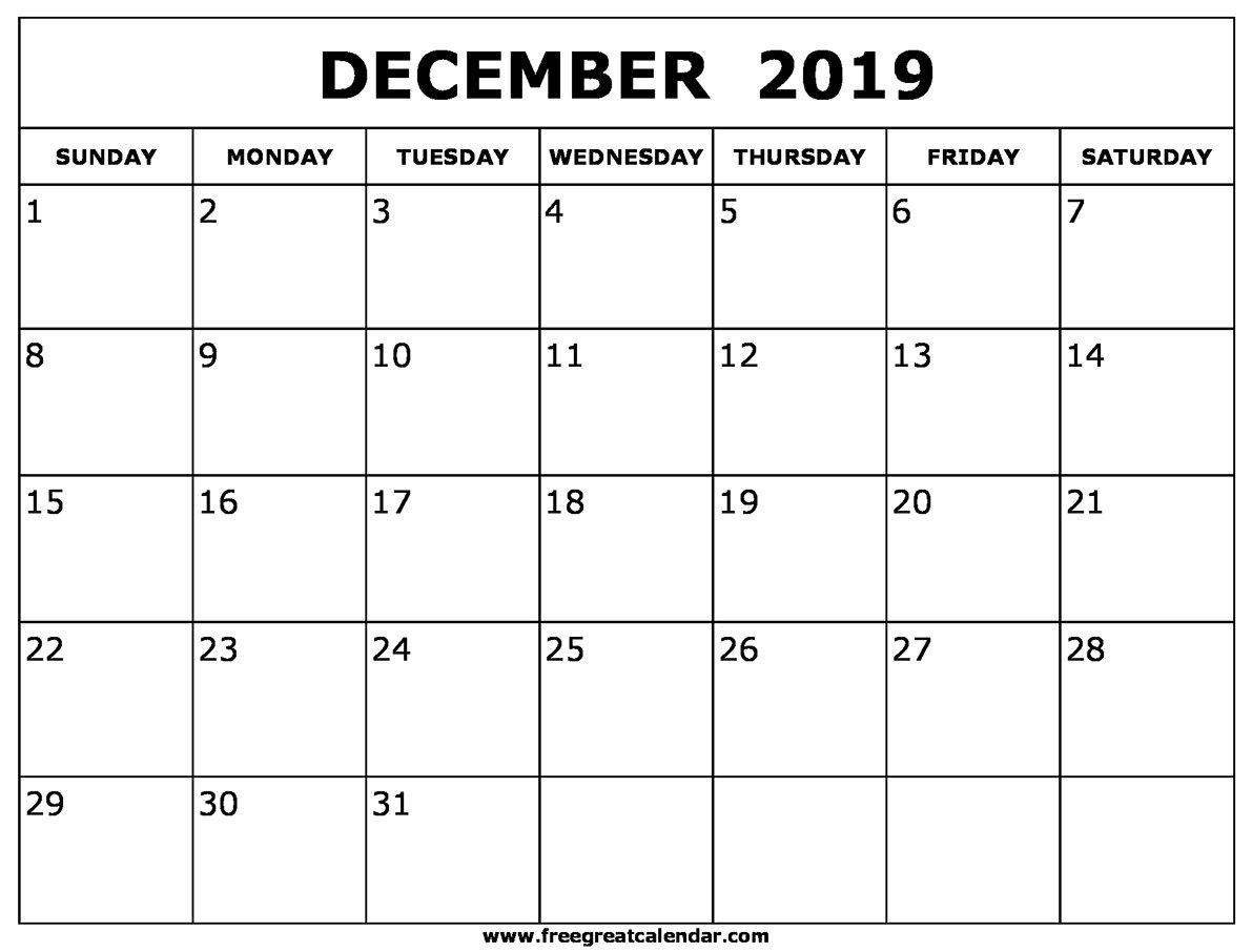 Blank December 2019 Calendar Printable Calendar 2019 December
