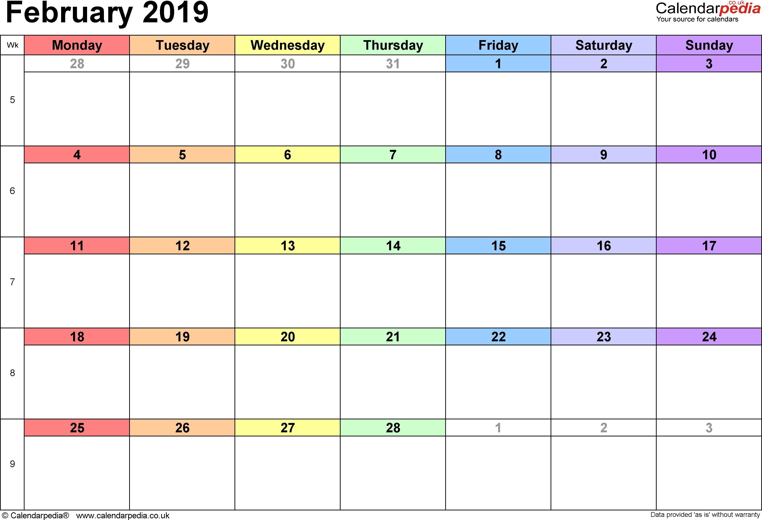 Blank February 2019 Calendar February 1 2019 Calendar