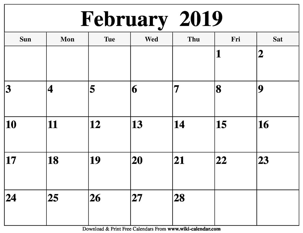 Blank February 2019 Calendar Printable Calendar 2019 February And March