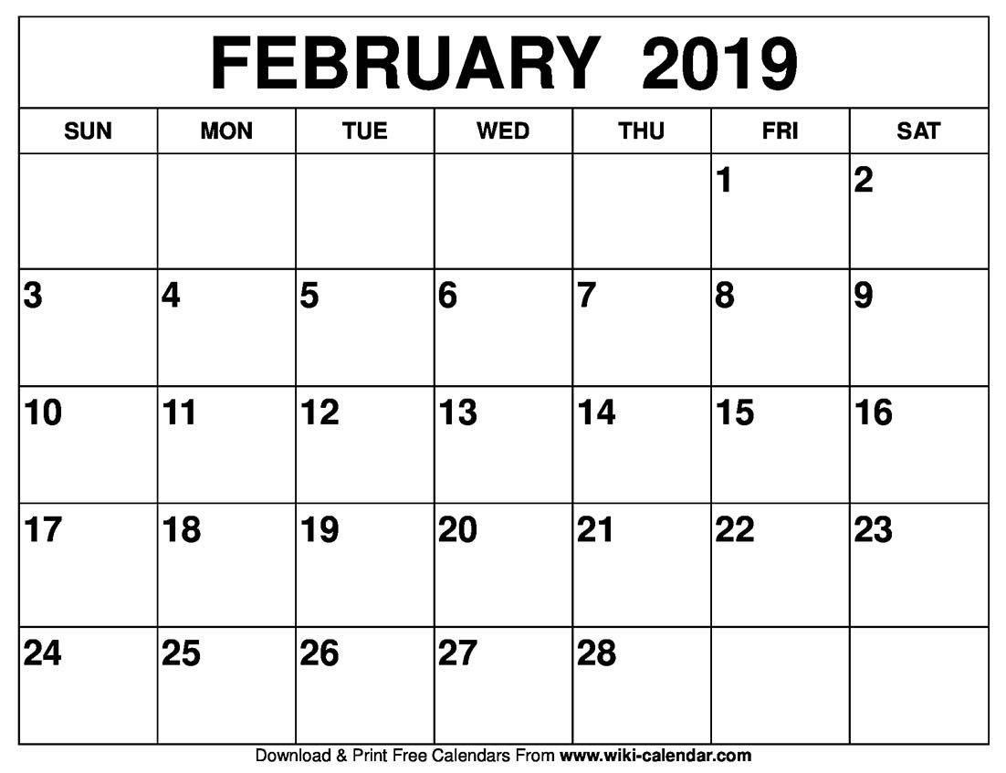 Blank February 2019 Calendar Printable Calendar 2019 February Printable