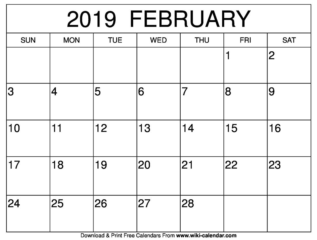 Blank February 2019 Calendar Printable Feb 5 2019 Calendar
