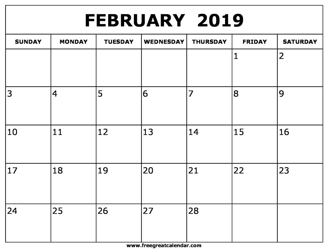 Blank February 2019 Calendar Printable February 1 2019 Calendar