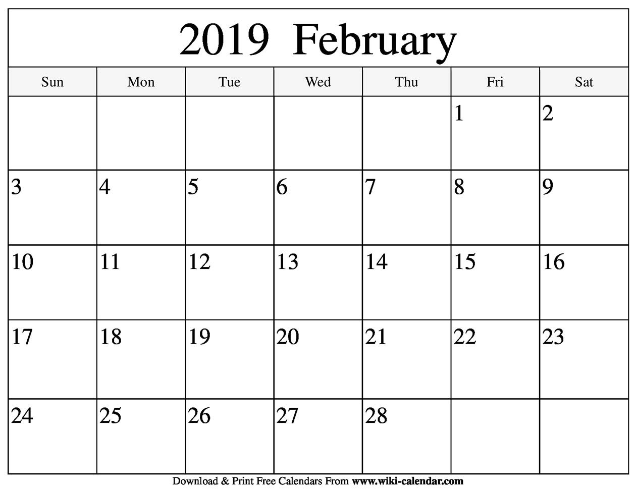 Blank February 2019 Calendar Printable February 4 2019 Calendar