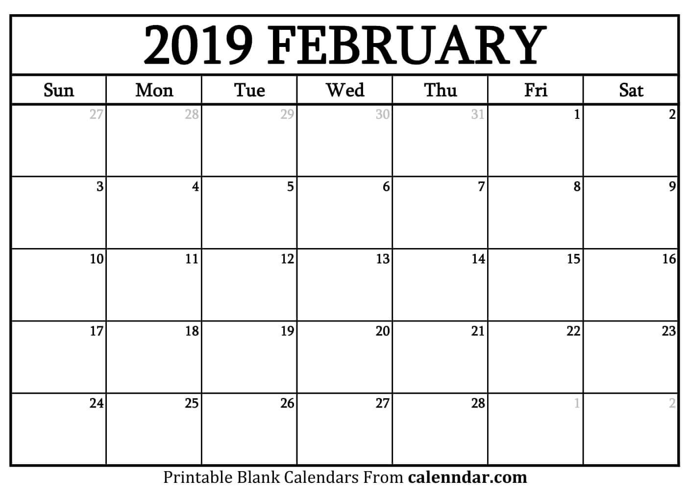 Blank February 2019 Calendar Templates - Calenndar Calendar 2019 February Printable