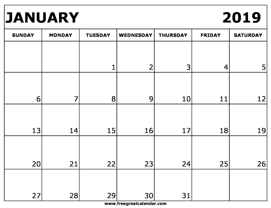 Blank January 2019 Calendar Printable Calendar 2019 Google