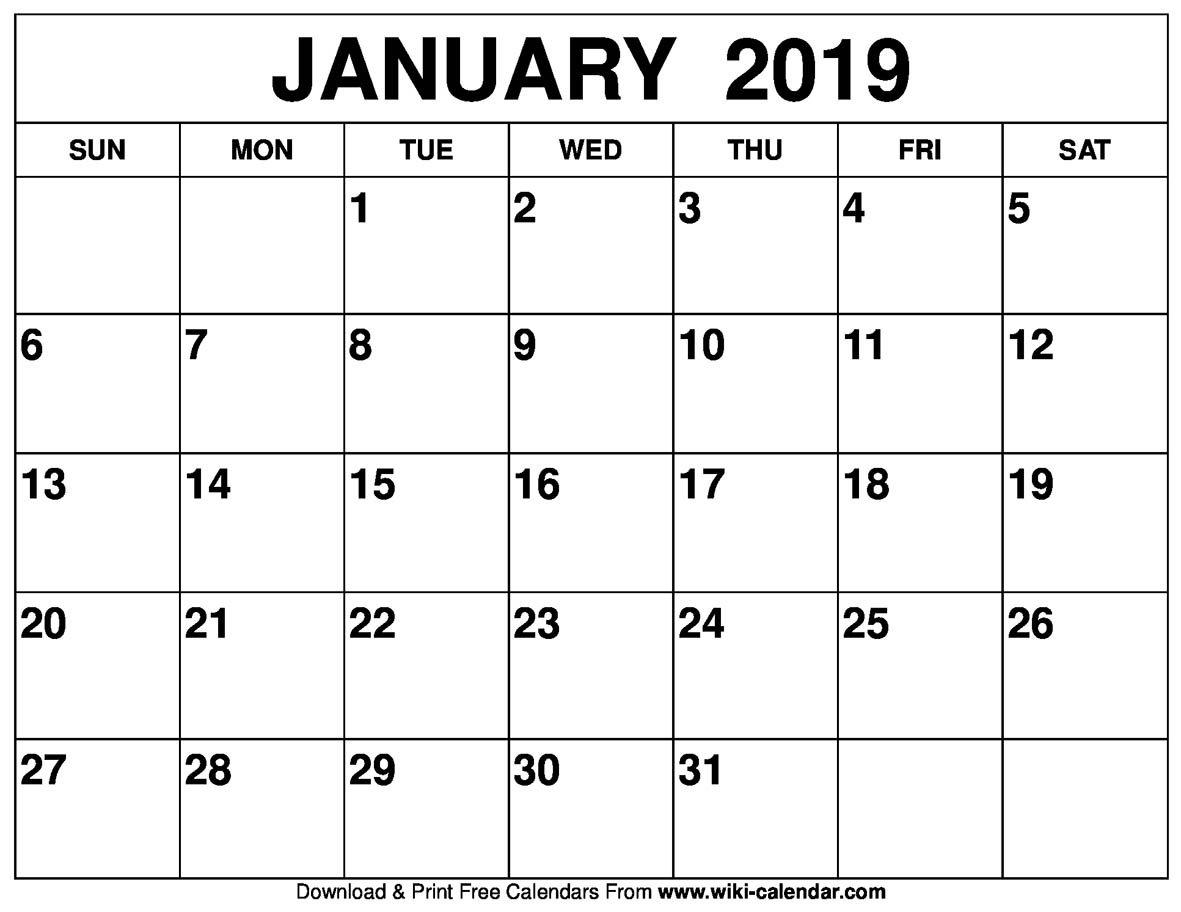 Blank January 2019 Calendar Printable Calendar 2019 January