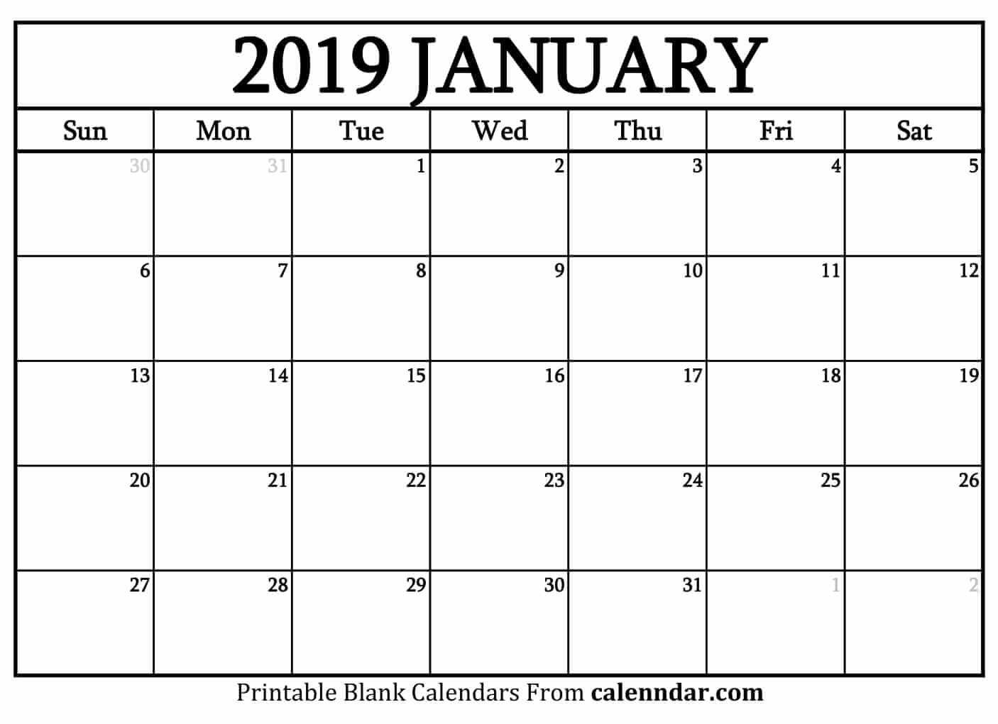 Blank January 2019 Calendar Templates - Calenndar Calendar 2019 January