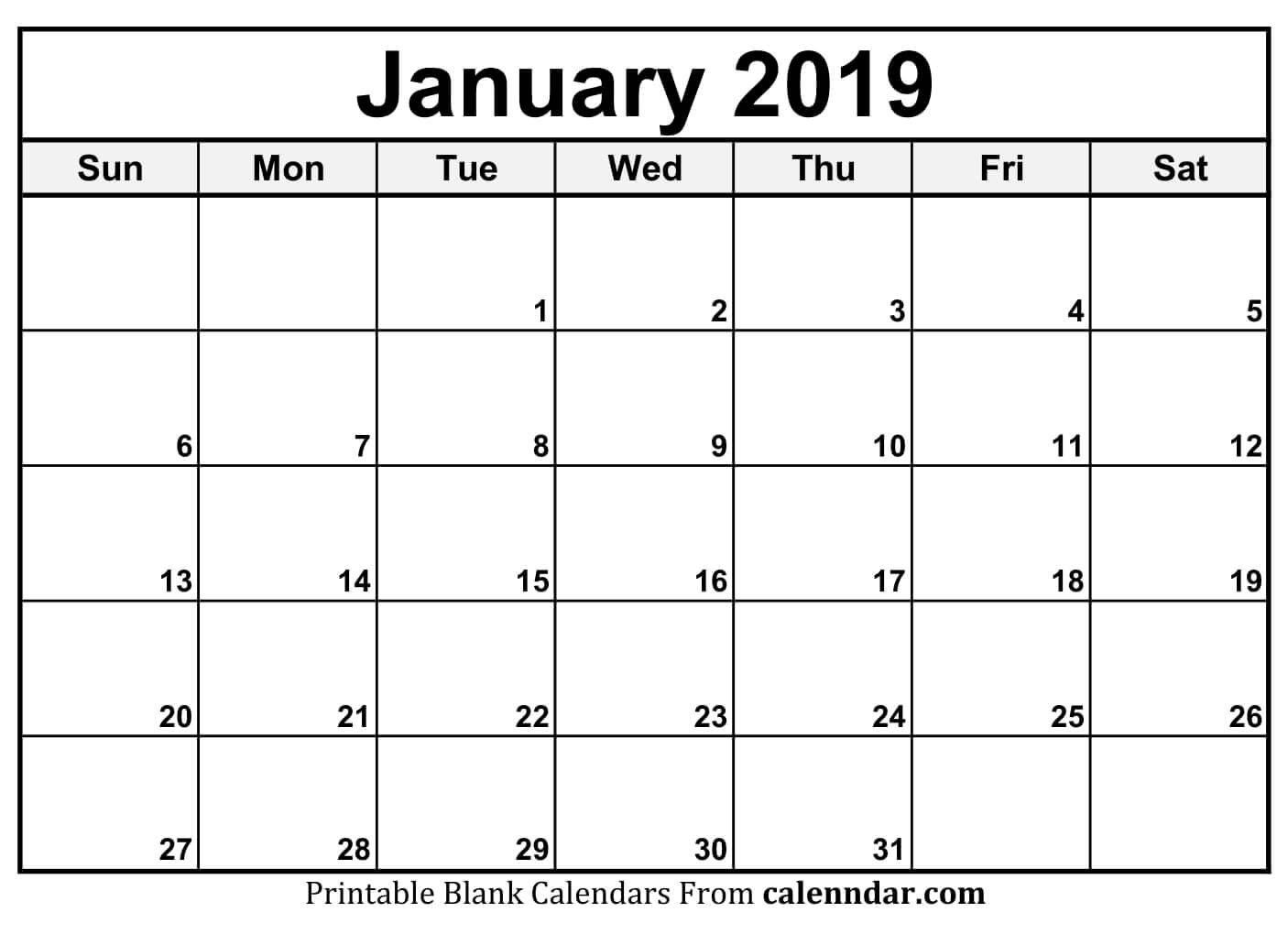 Blank January 2019 Calendar Templates - Calenndar January 2 2019 Calendar