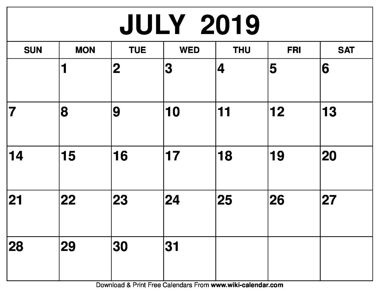 Blank July 2019 Calendar Printable July 2019 Calendar