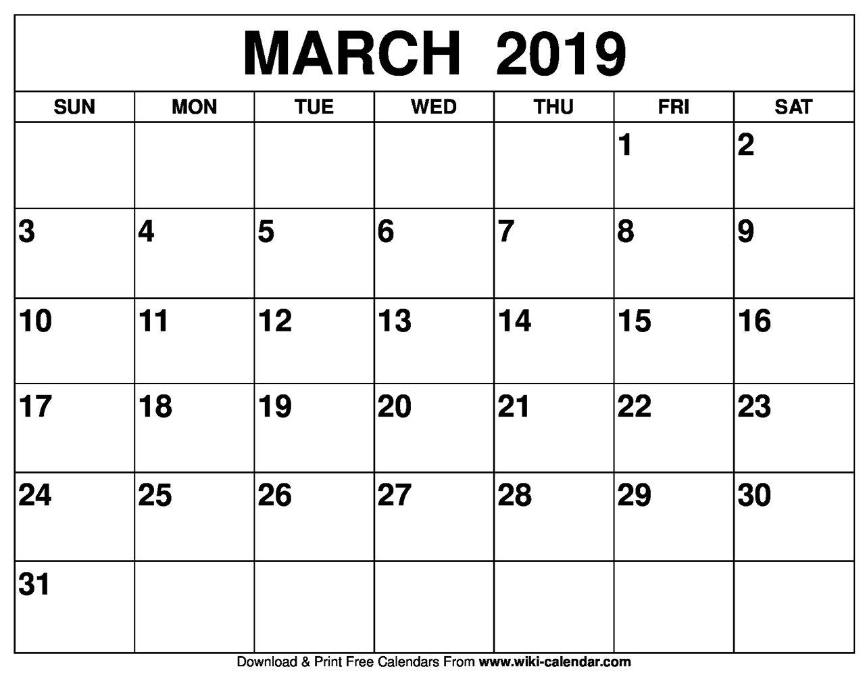 Blank March 2019 Calendar Printable March 2 2019 Calendar