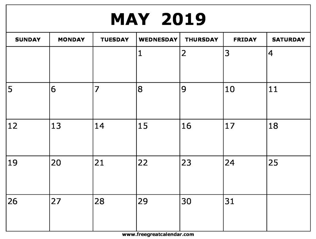 Blank May 2019 Calendar Printable May 1 2019 Calendar