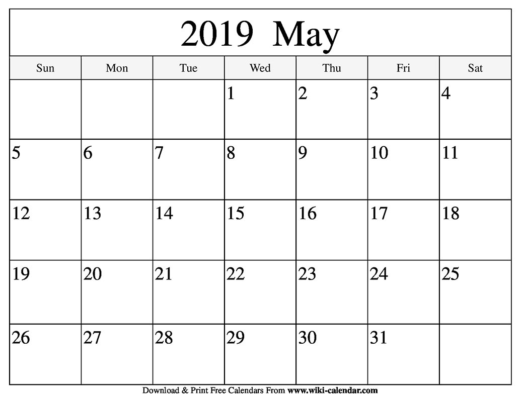 Blank May 2019 Calendar Printable May 5 2019 Calendar
