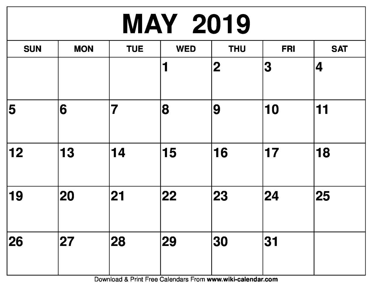 Blank May 2019 Calendar Printable May 9 2019 Calendar