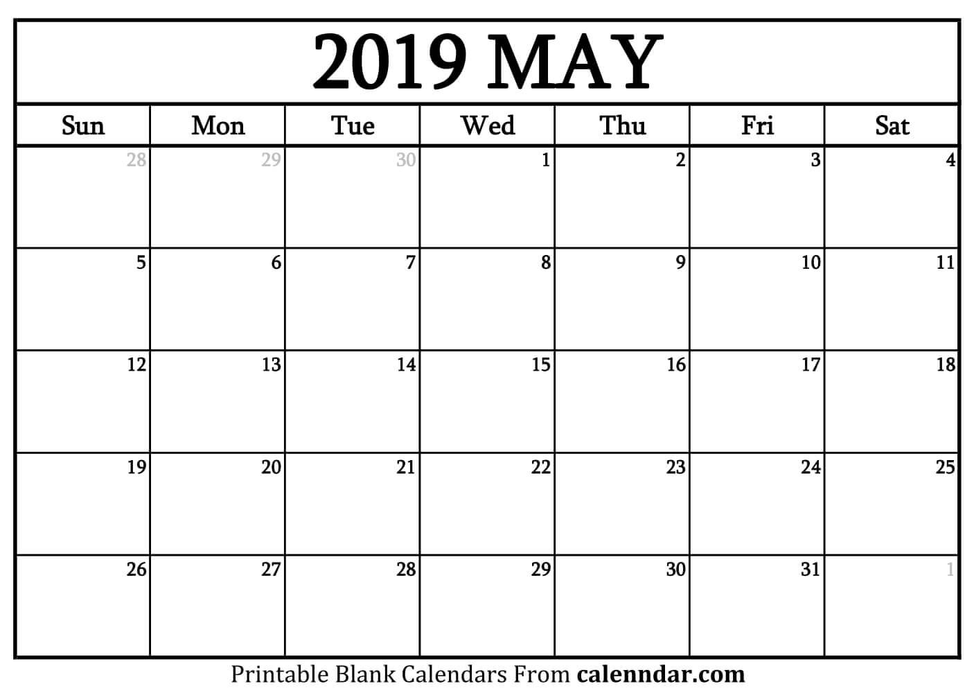 Blank May 2019 Calendar Templates - Calenndar Calendar 2019 May