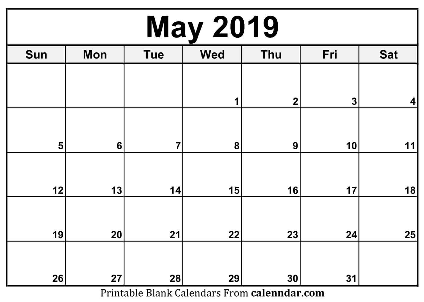 Blank May 2019 Calendar Templates - Calenndar Calendar May 4 2019