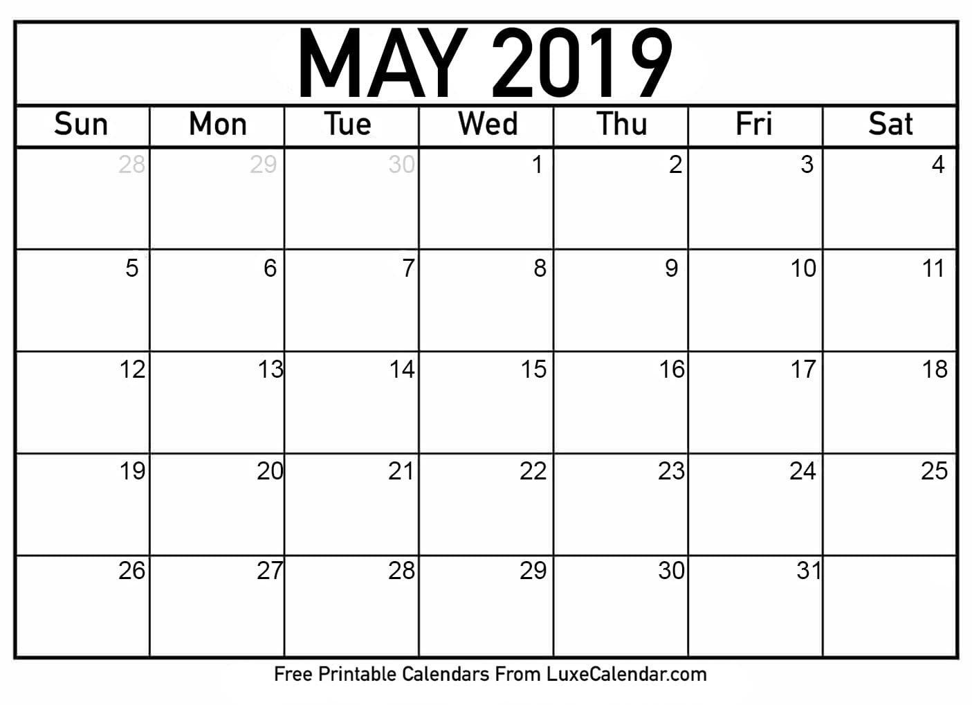 Blank May 2019 Printable Calendar - Luxe Calendar Calendar 2019 May