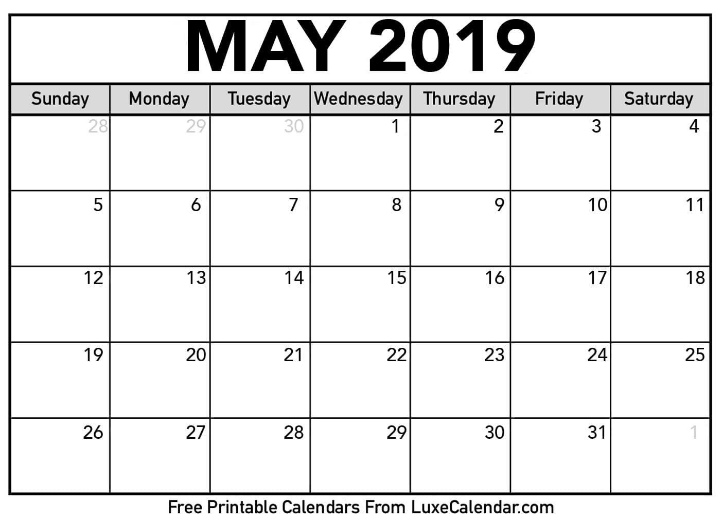 Blank May 2019 Printable Calendar - Luxe Calendar Calendar May 4 2019