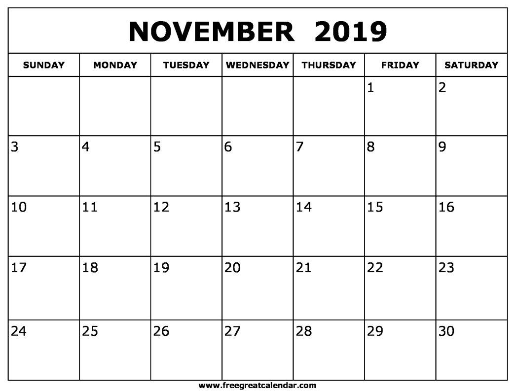 Blank November 2019 Calendar Printable Calendar 2019 November