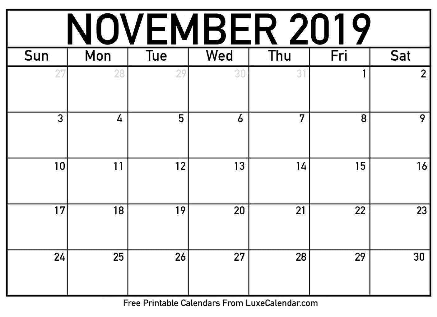 Blank November 2019 Printable Calendar - Luxe Calendar Calendar 2019 Nov