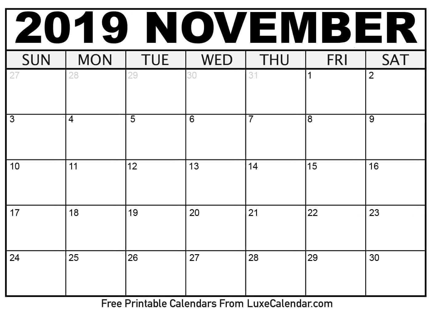 Blank November 2019 Printable Calendar - Luxe Calendar Calendar 2019 November
