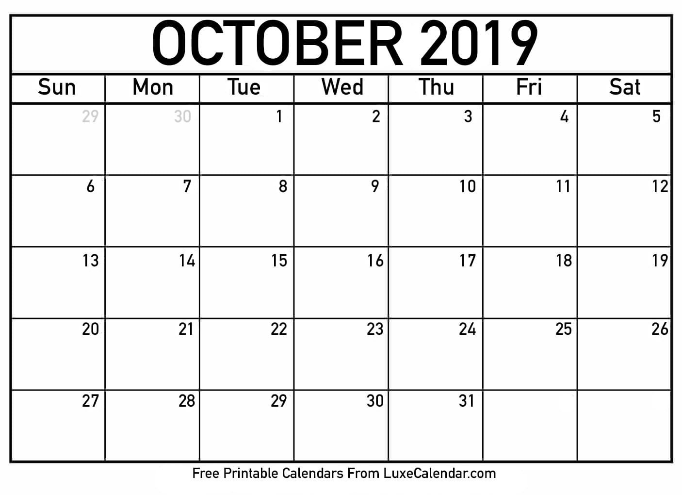 Blank October 2019 Printable Calendar - Luxe Calendar Calendar 2019 Oct