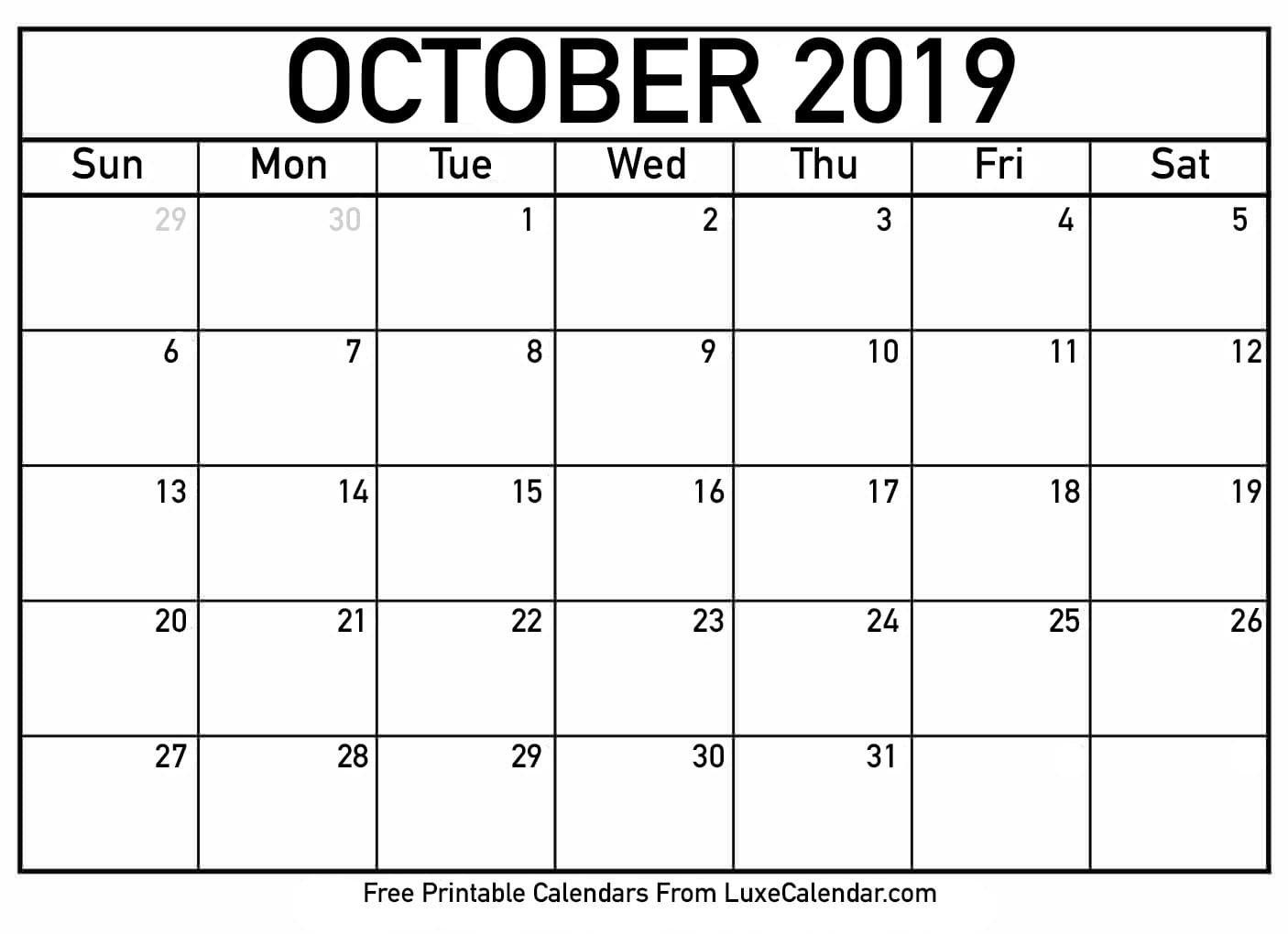 Blank October 2019 Printable Calendar - Luxe Calendar Calendar 2019 October