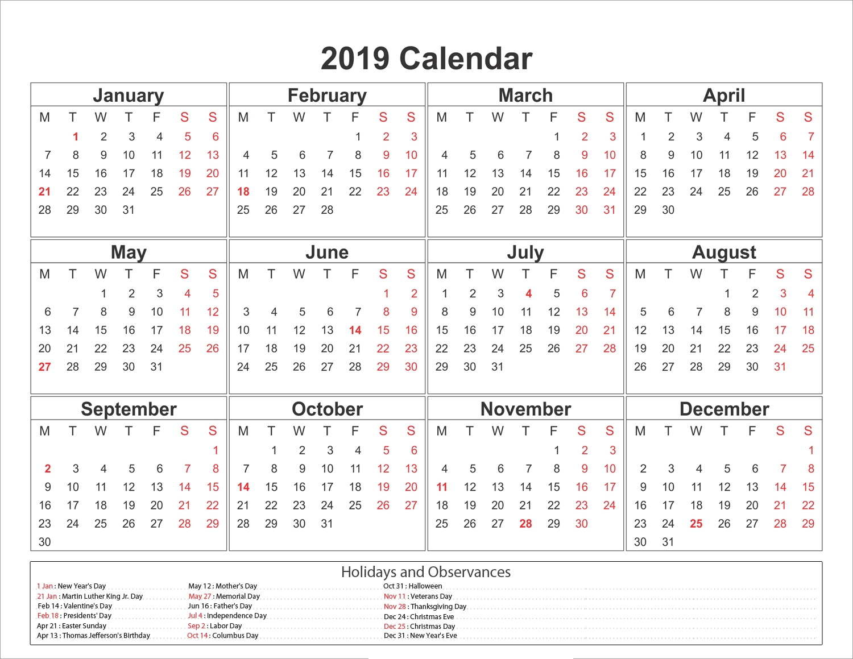 Blank Printable Calendar 2019 With Holidays | Printableshelter 2019 Calendar 8.5 X 11 Printable
