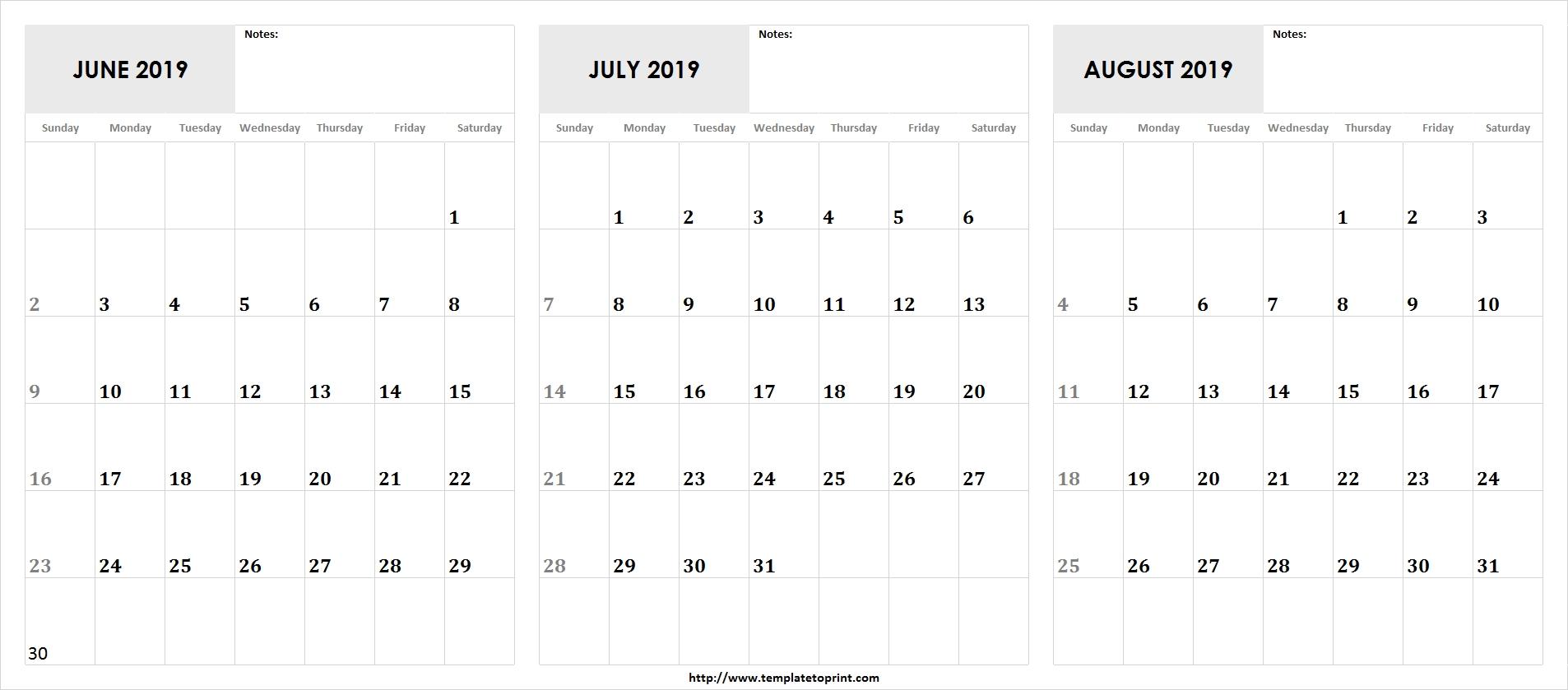 Blank-Printable-May-June-July-2019-Calendar » Template To Print Calendar 2019 June July August