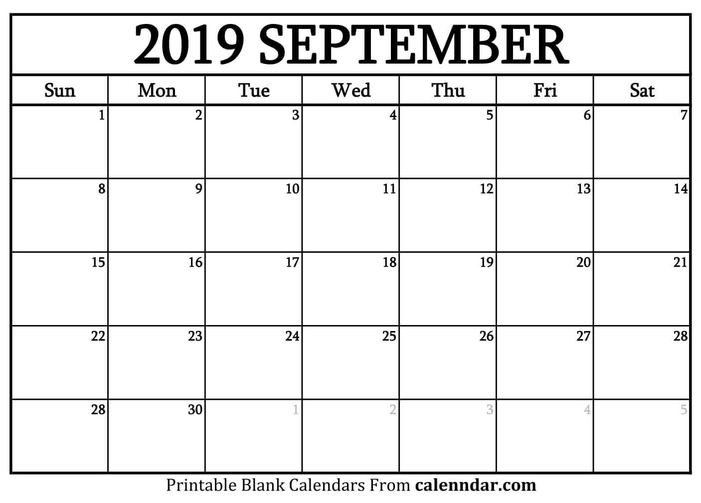 Blank September 2019 Calendar Templates - Calenndar Calendar Of 2019 September