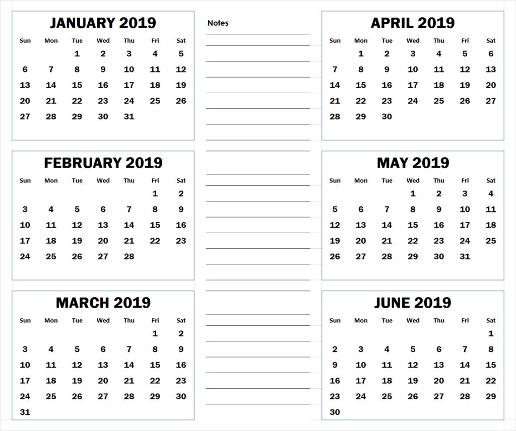 Blank Six Month 2019 Printable Calendar | 2019 Calendars | Pinterest 2 Month Calendar 2019