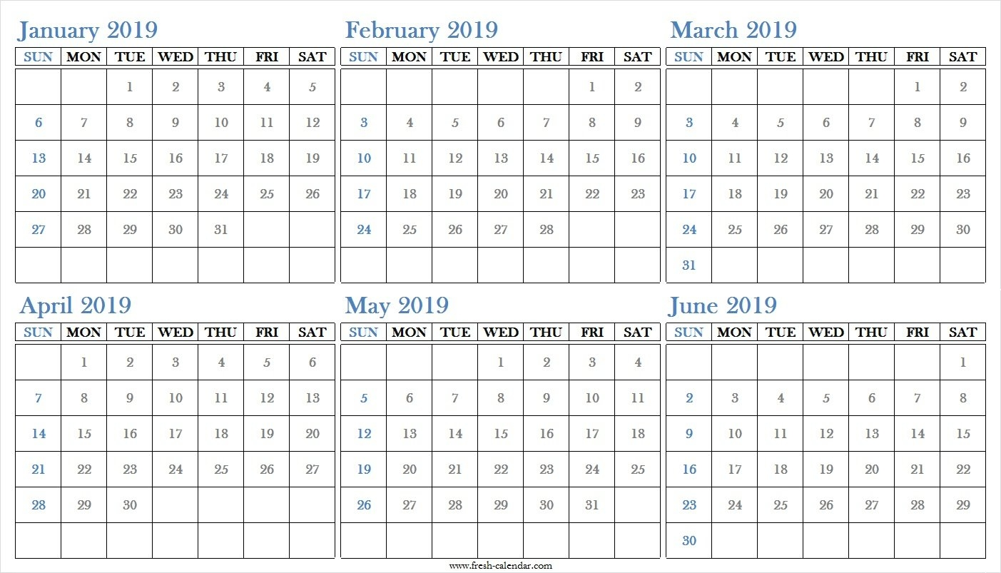 Blank Six Months 2019 January To June Calendar Printable Free Calendar 2019 Half Year
